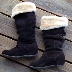 7 Suede Fur Brown Slouch Boots Winter Tall Cuffed